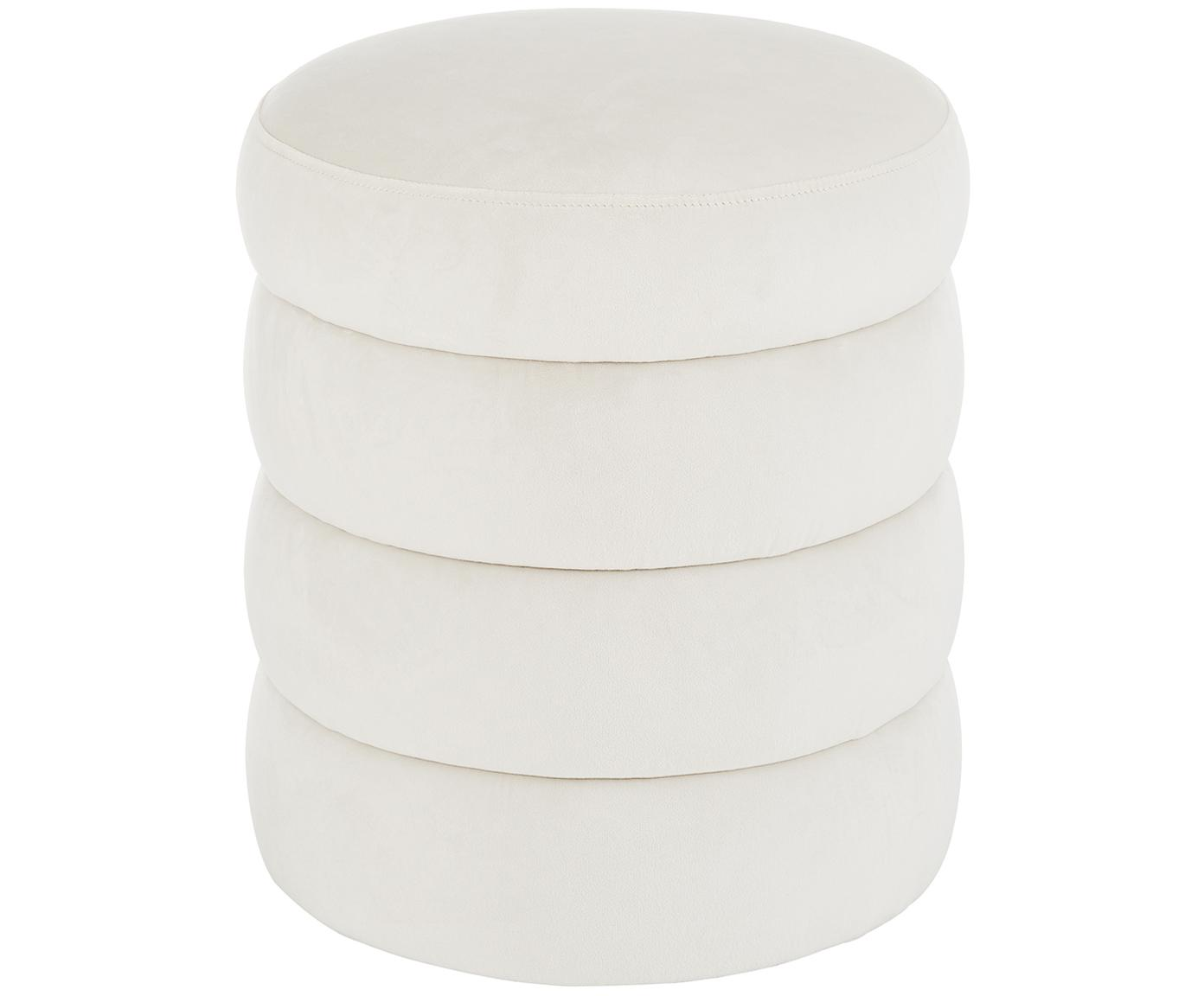 Puf de terciopelo Alto, Tapizado: terciopelo (poliéster) Re, Estructura: madera de pino maciza, ma, Blanco crema, Ø 42 x Al 47 cm