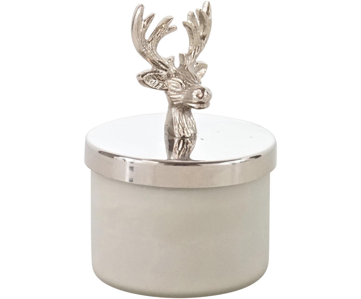 Windlicht Deer, Pot: glas, Deksel: aluminium, Wit, zilverkleurig, Ø 7 x H 12 cm