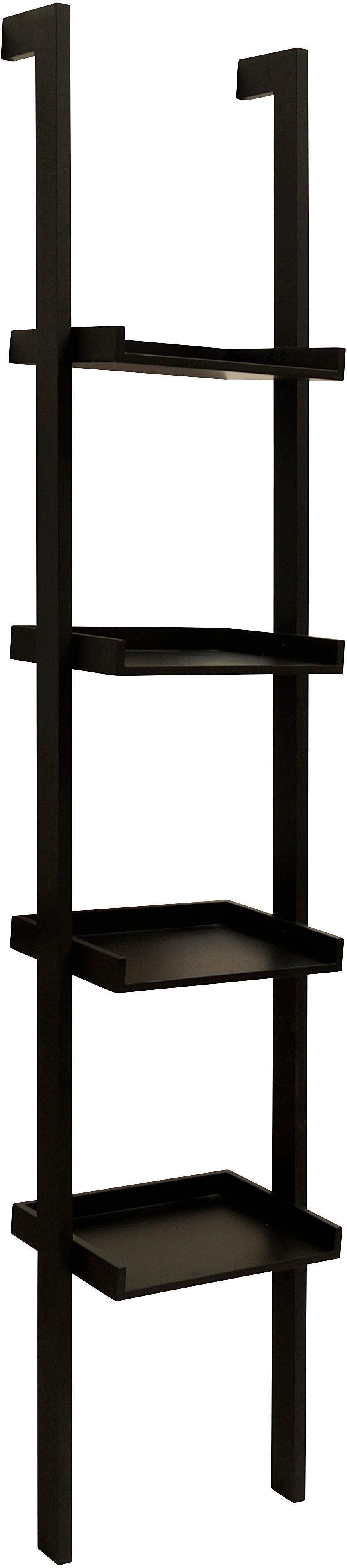 Estantería escalera de madera Wall, Tablero de fibras de densidad media(MDF) pintado, Negro, An 45 x Al 45 cm