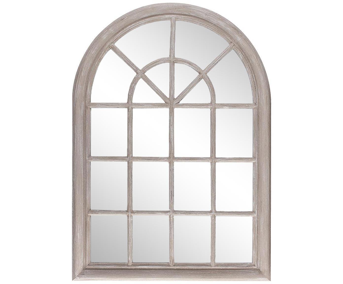 Espejo de pared Window, Madera de Paulownia, espejo de cristal, Beige, An 74 x Al 104 cm