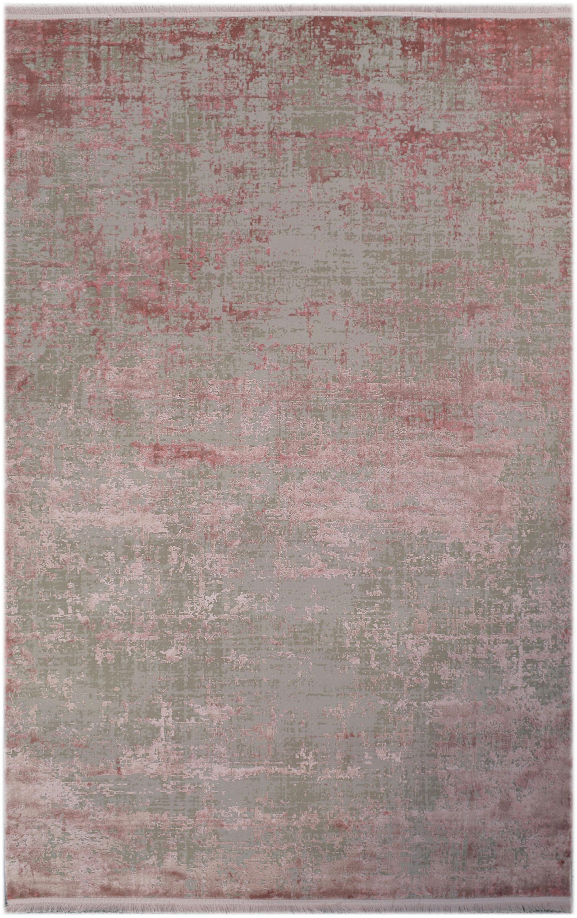 Schimmernder Teppich Cordoba mit Fransen, Vintage Style, Flor: 70% Acryl, 30% Viskose, Grau, Rosatöne, B 130 x L 190 cm (Grösse S)