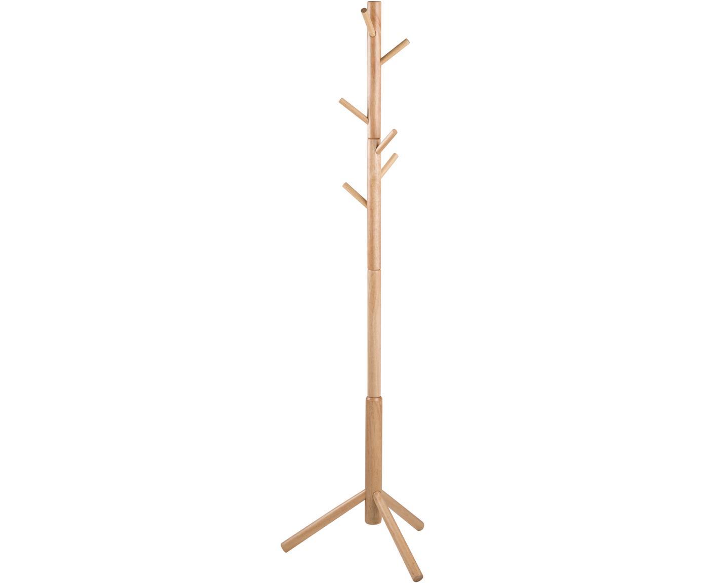 Appendiabiti in legno con 6 ganci Bremen, Albero della gomma, Caucciù, Larg. 51 x Alt. 176 cm