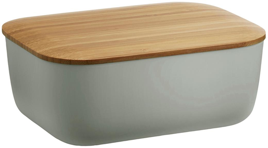 Burriera Box-It, Contenitore: melamina, Coperchio: bambù, Grigio, bambù, Larg. 15 x Alt. 7 cm