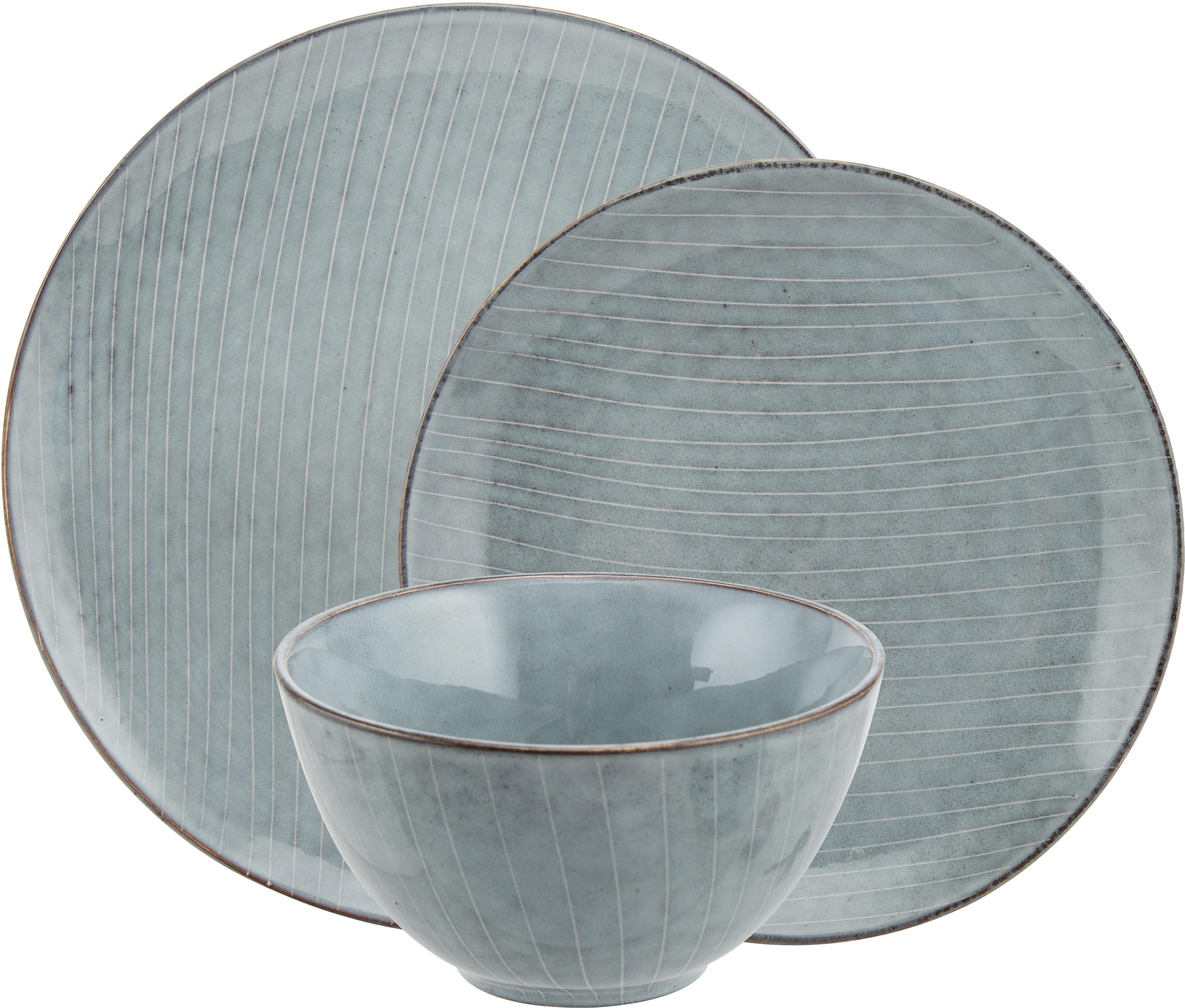 Vajilla artesanal Nordic Sea, 4comensales (12pzas.), Gres, Tonos grises y azules, Tamaños diferentes