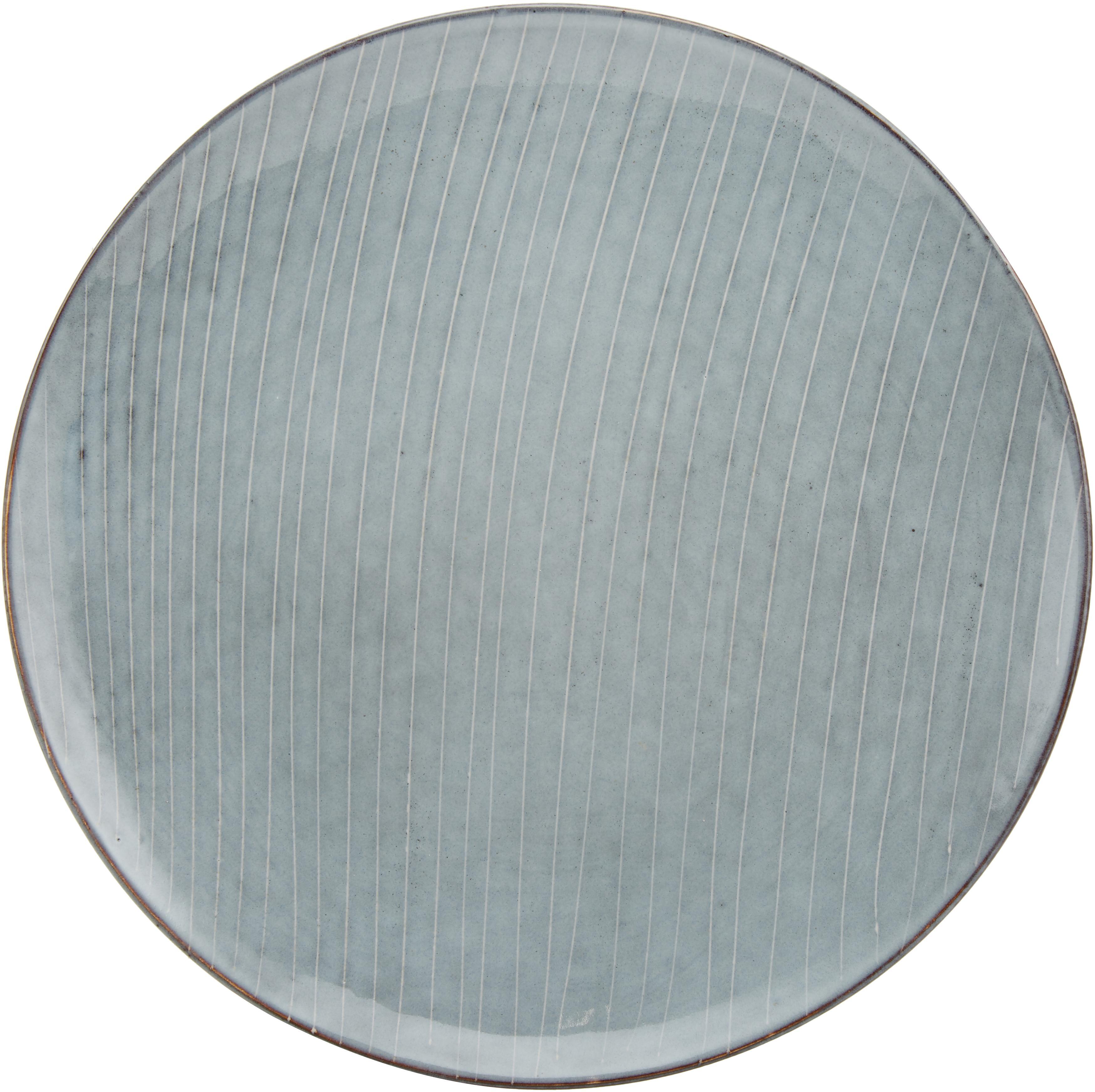 Komplet ręcznie wykonanych naczyń Nordic Sea, 12 elem., Kamionka, Odcienie szarego, odcienie niebieskiego, Komplet z różnymi rozmiarami