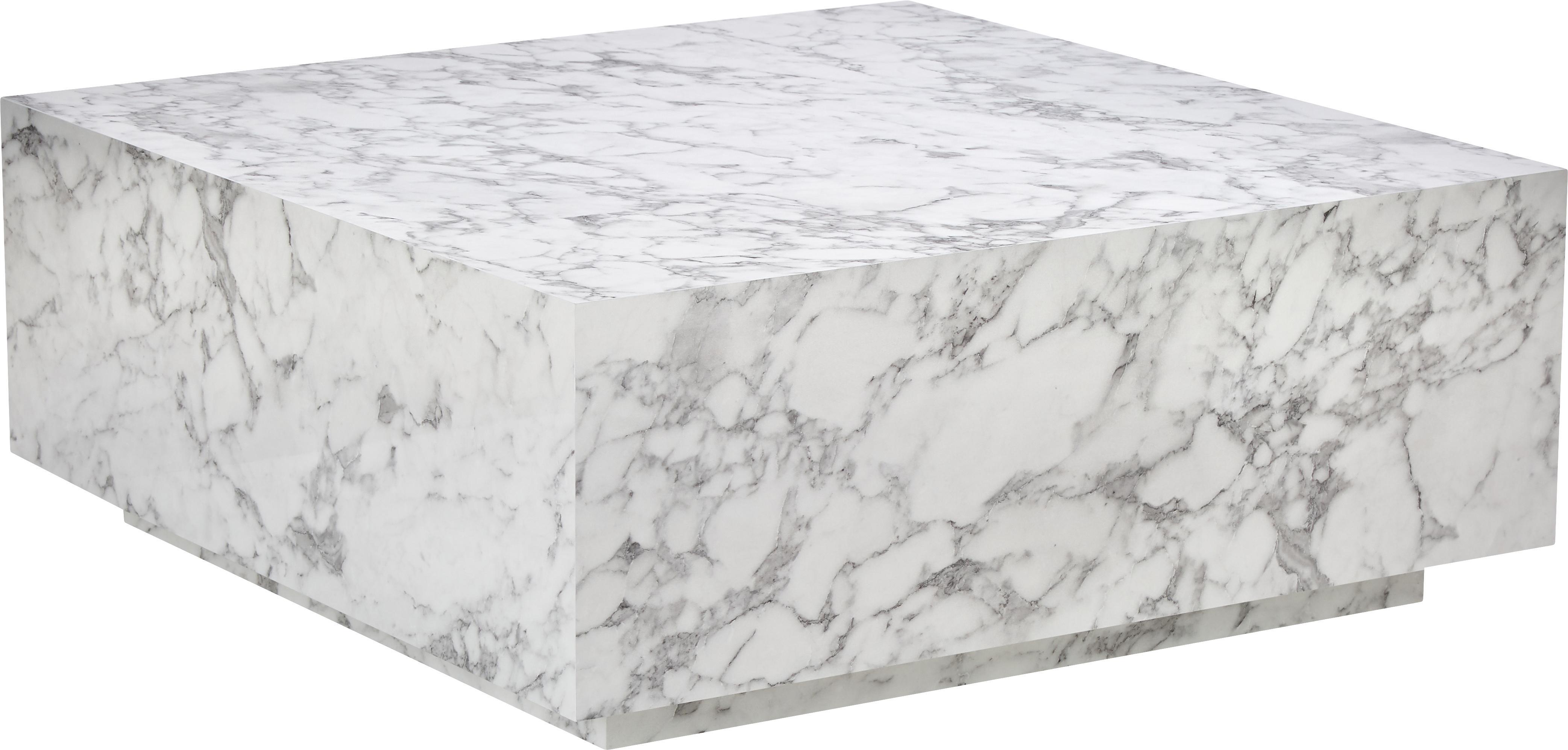 Stolik kawowy z imitacji marmuru Lesley, Płyta pilśniowa średniej gęstości (MDF) pokryta folią melaminową, Biały, marmurowy, błyszczący, S 90 x G 90 cm