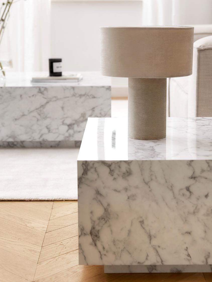 Mesa de centro en aspecto mármol Lesley, Tablero de fibras de densidad media(MDF) recubierto en melanina, Mármol blanco brillante, An 90 x F 35 cm