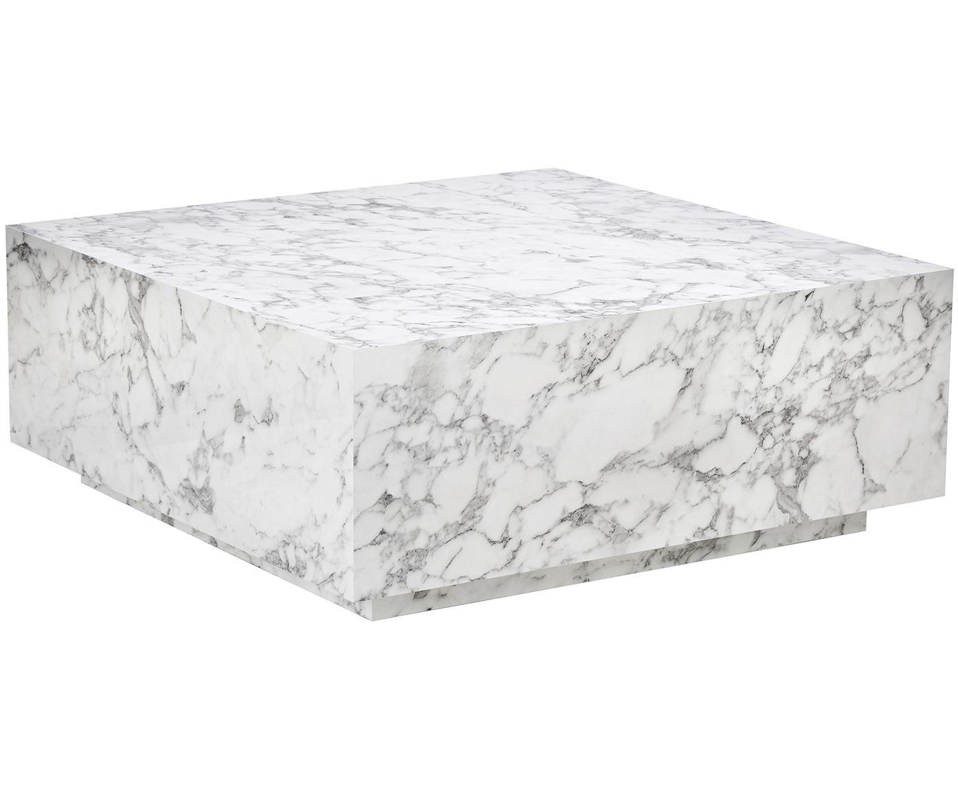Schwebender Couchtisch Lesley in Marmoroptik, Mitteldichte Holzfaserplatte (MDF), mit Melaminfolie überzogen, Weiß, marmoriert, B 90 x T 90 cm