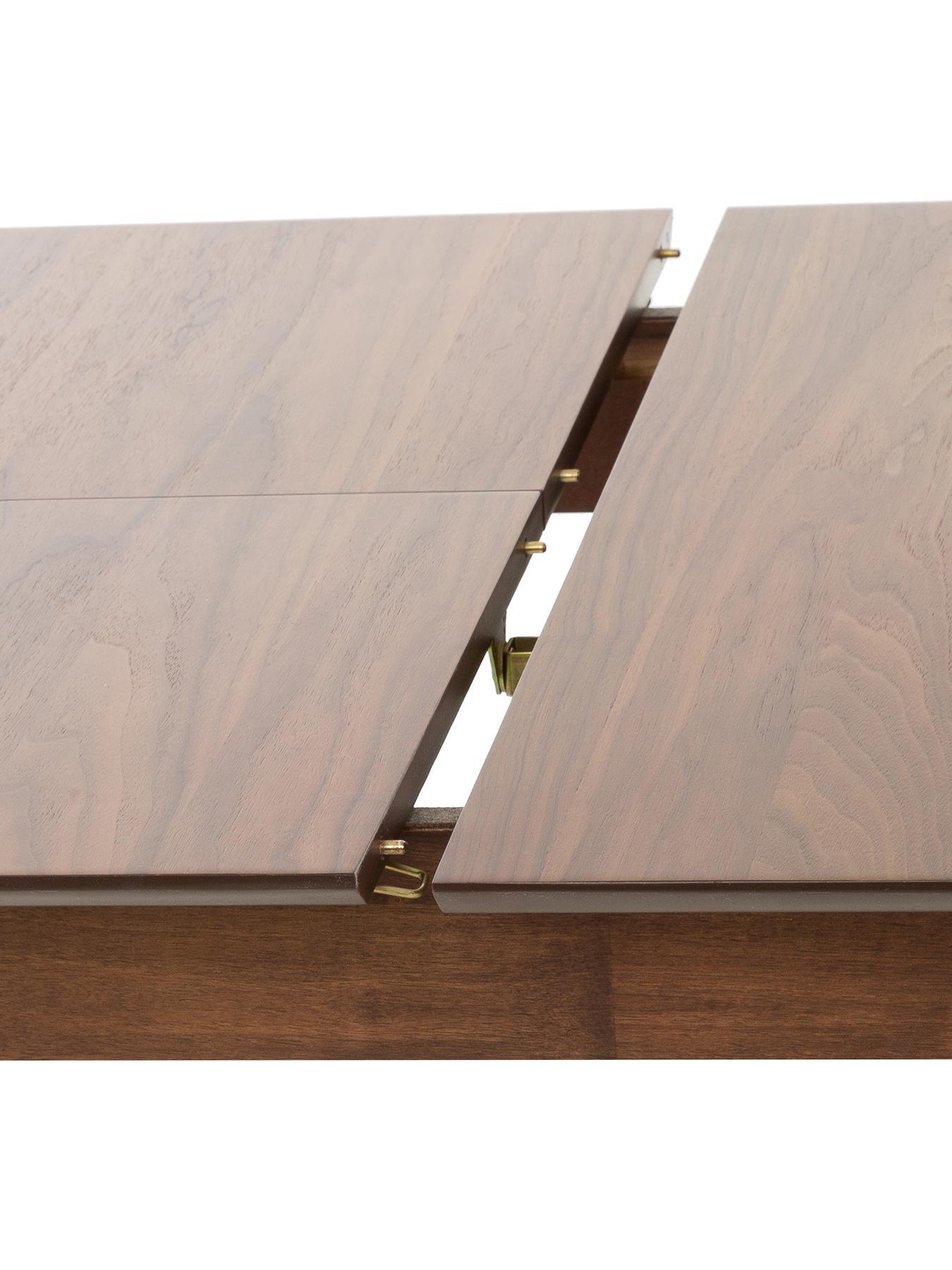 Ausziehbarer Esstisch Montreux, Tischplatte: Mitteldichte Holzfaserpla, Beine: Gummibaumholz, gebeizt, Tischplatte: Walnuss  Beine: Dunkelbraun gebeizt, B 180 bis 220 x T 90 cm