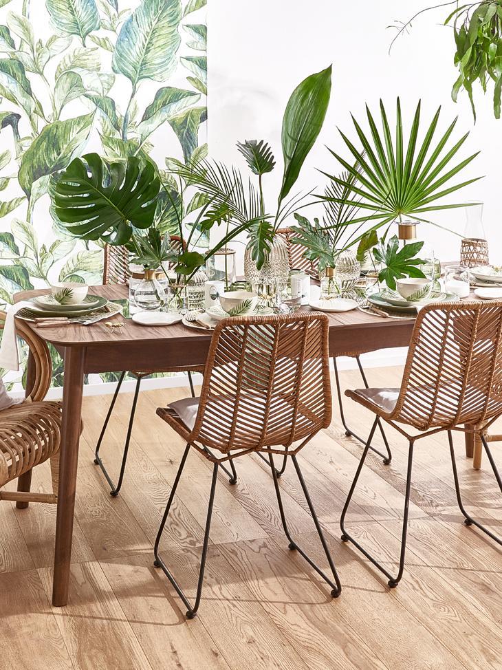 Table extensible bois Montreux, Plateau: noyer Pieds: teinté brun foncé