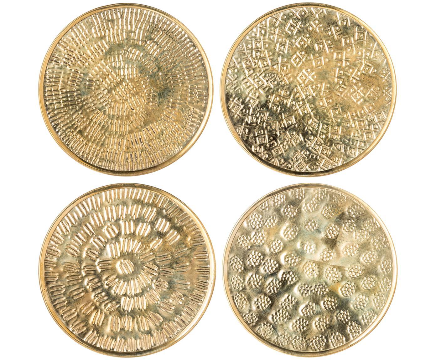 Set sottobicchieri Graphic, 4 pz., Ottone, martellato, Ottone, Ø 10 cm