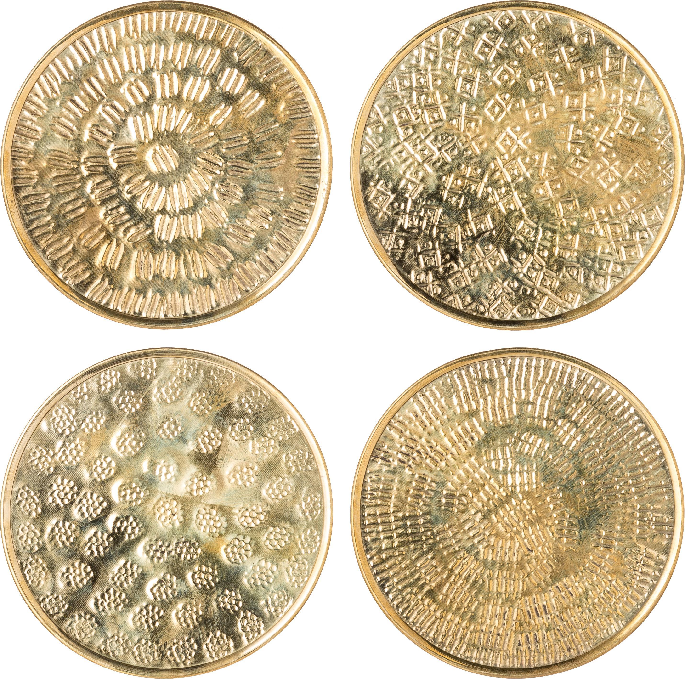 Set de posavasos Graphic, 4pzas., Latón, martillado, Latón, Ø 10 cm