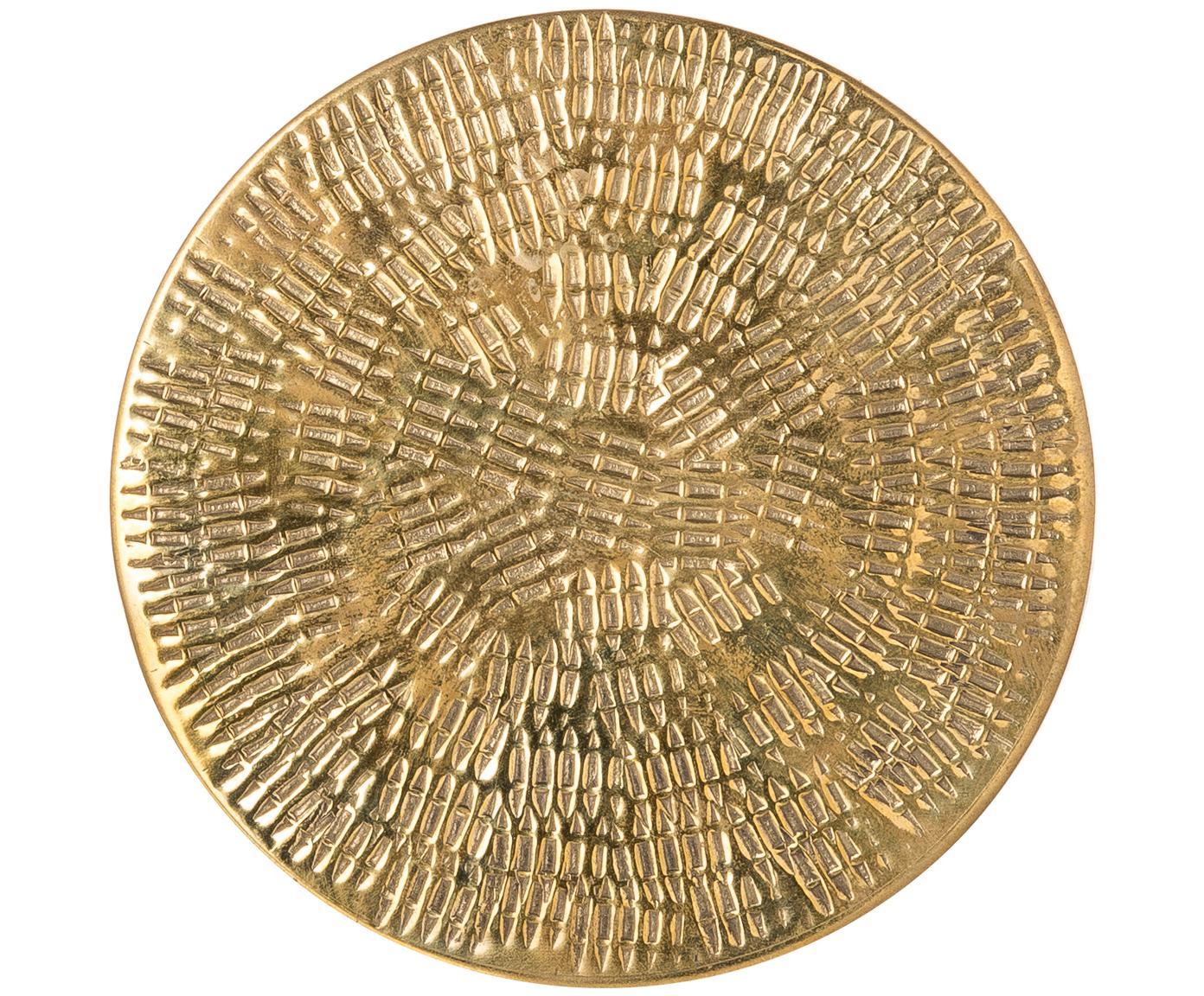 Komplet podstawek Graphic, 4elem., Mosiądz młotkowany, Złoty, Ø 10 cm