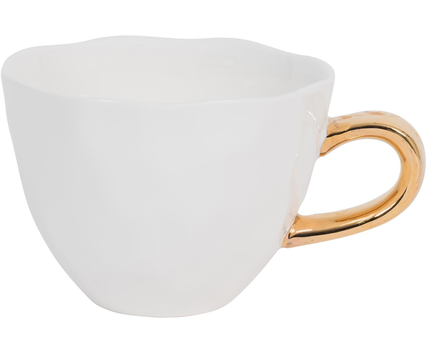 Tazza bianca con manico dorato Good Morning, Terracotta, Bianco, dorato, Ø 11 x Alt. 8 cm