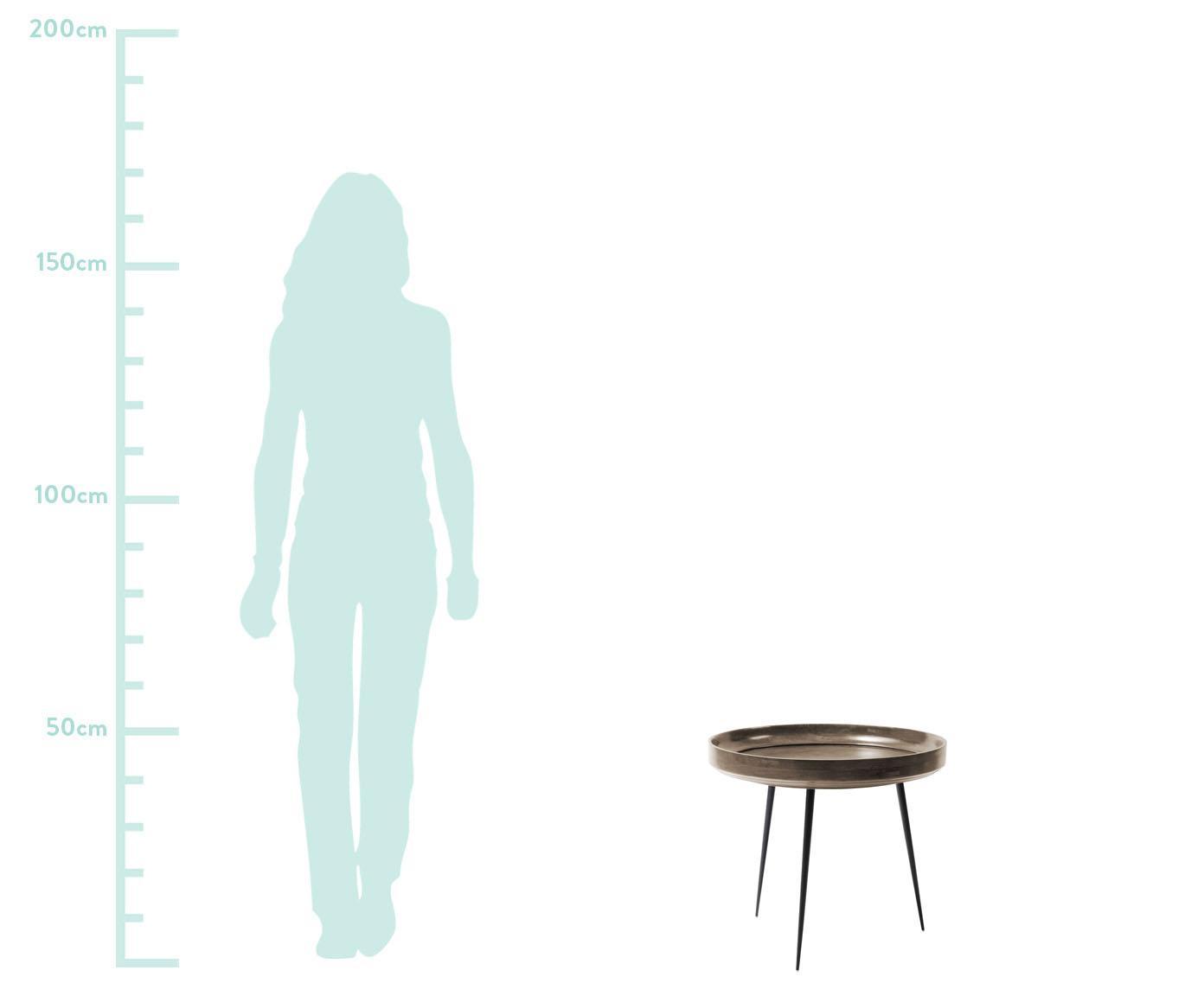 Kleiner Design-Beistelltisch Bowl Table aus Mangoholz, Tischplatte: Mangoholz, gebeizt und la, Beine: Stahl, pulverbeschichtet, Graubraun, Schwarz, Ø 53 x H 46 cm