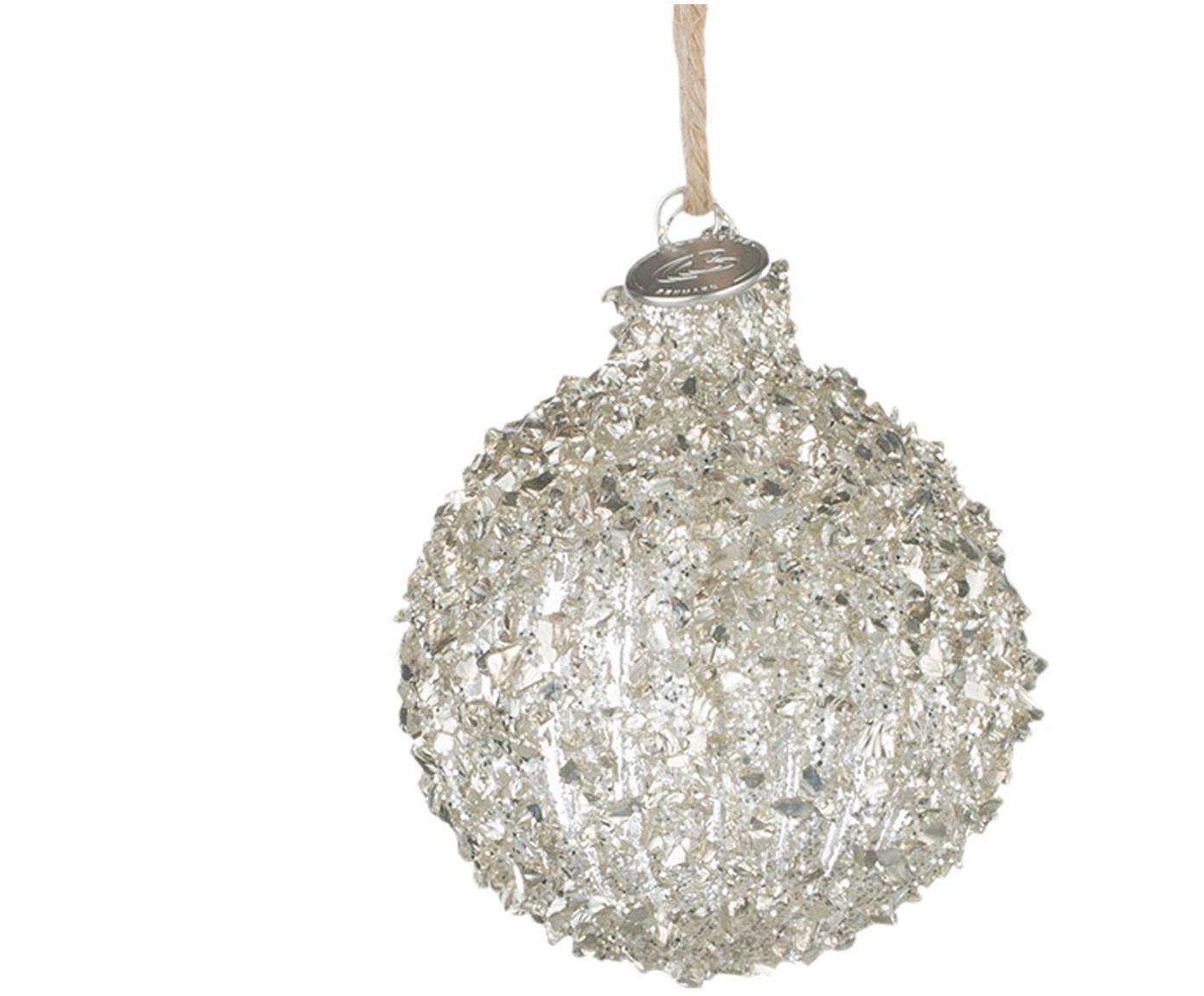 Kerstballen Merya, 2 stuks, Ophanglus: jute, Zilverkleurig, Ø 8 cm