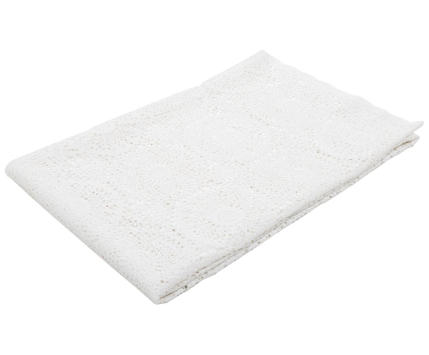 Mantel de plástico Lace, Fibra sintética PVC con aspecto de encaje, Blanco, De 8 a 10 comensales (An 150 x L 264 cm)