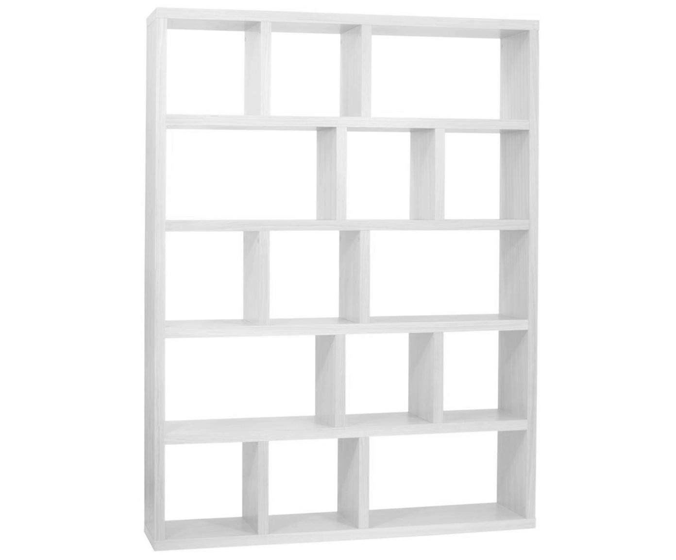 Estantería de madera Portlyn, Estructura: panel en nido de abeja li, Superficie: chapado en melamina, Blanco, mate, An 150 x Al 198 cm