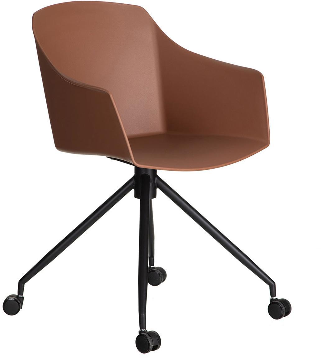 Silla giratoria de oficina Gero, Asiento: plástico, Patas: metal, Rojo teja, negro, An 54 x Al 81 cm