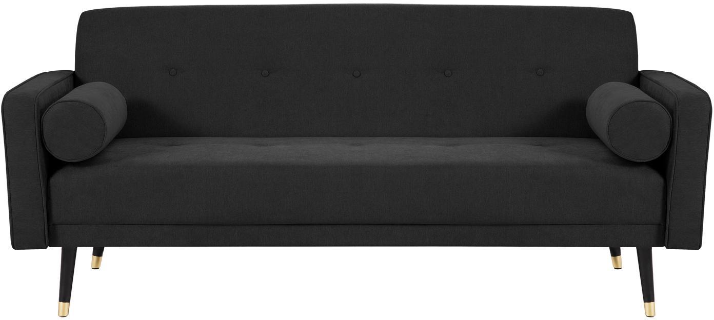 Sofa rozkładana z aksamitu Alessia (3-osobowa), Tapicerka: poliester, Nogi: drewno bukowe, lakierowan, Czarny, S 212 x G 93 cm
