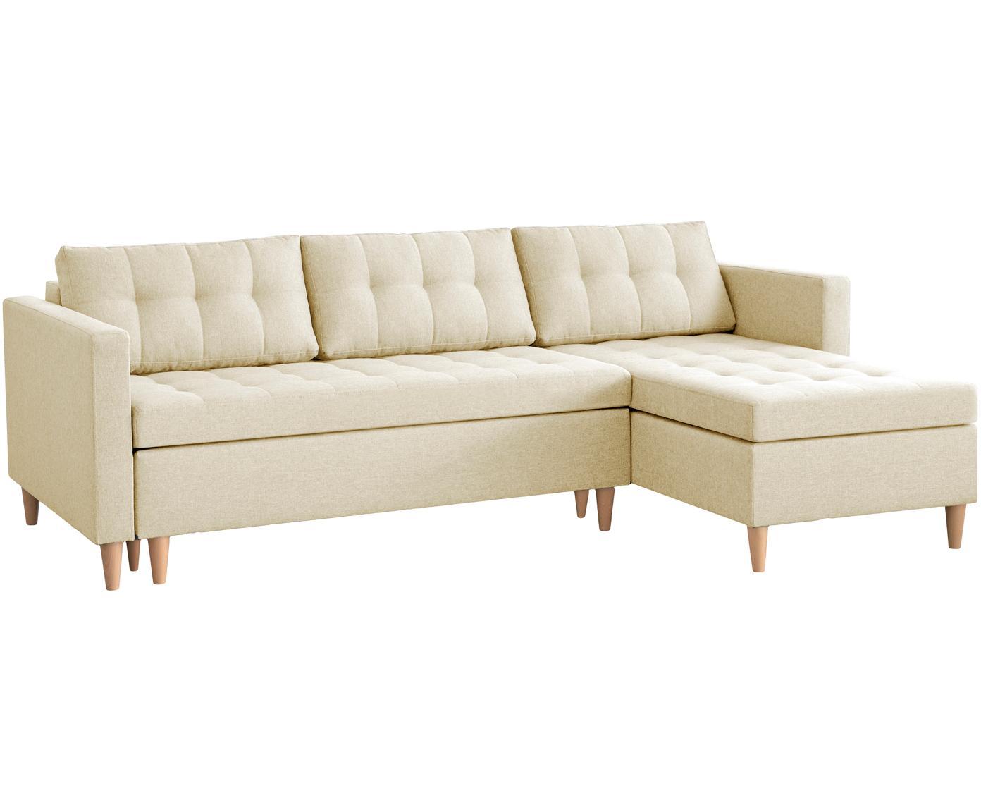 Sofá cama rinconero Fandy, Tapizado: poliéster 100.000ciclos , Estructura: madera maciza, aglomerado, Patas: madera de haya, Tejido beige, An 223 x F 69 cm