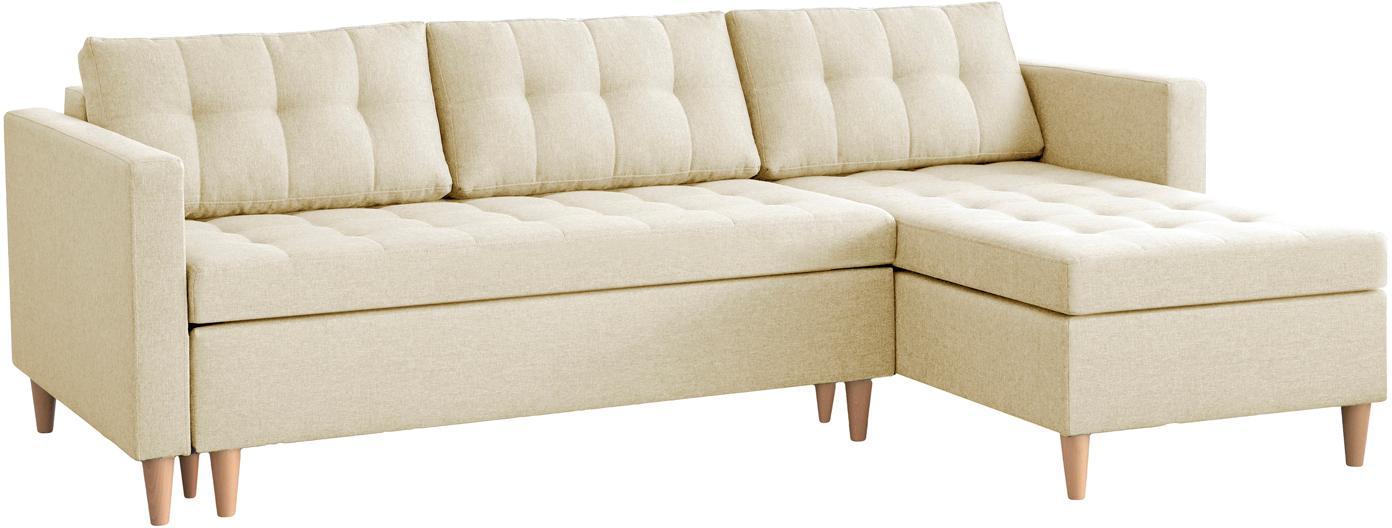 Divano letto angolare con chaise longue e contenitore Fandy, Tessuto beige, Larg. 223 x Prof. 69 cm