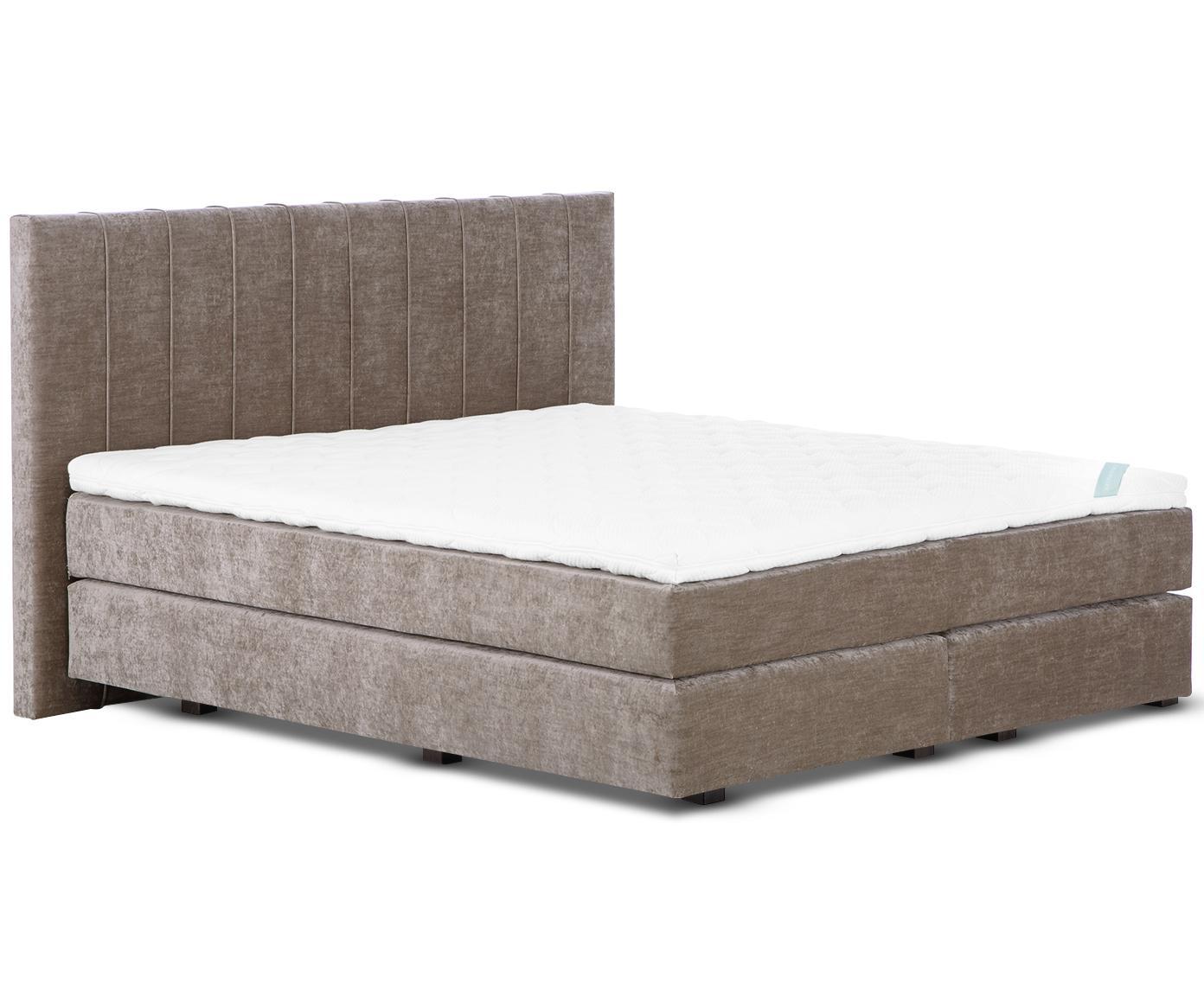 Łóżko kontynentalne z aksamitu premium Lacey, Nogi: lite drewno bukowe, lakie, Taupe, 140 x 200 cm