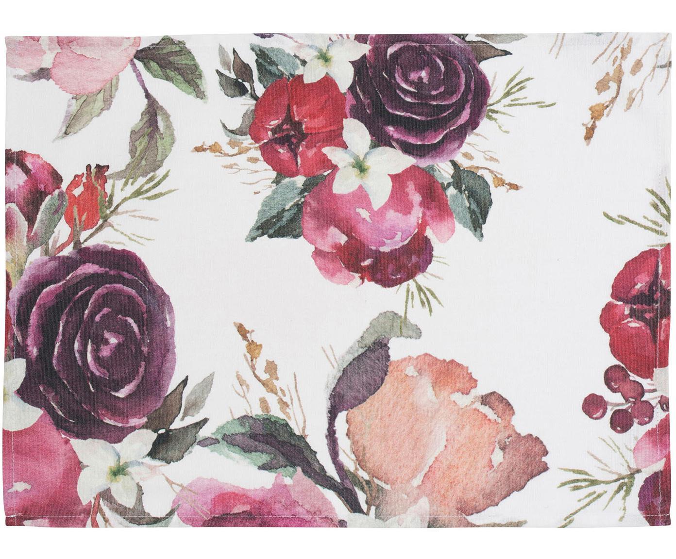 Baumwoll-Tischsets Florisia mit Blumenmuster, 2 Stück, Baumwolle, Rosa, Weiß, 38 x 50 cm
