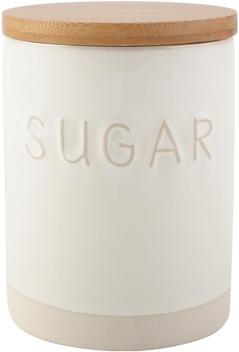 Bote Sugar, Blanco, beige, Ø 10 x Al 14 cm