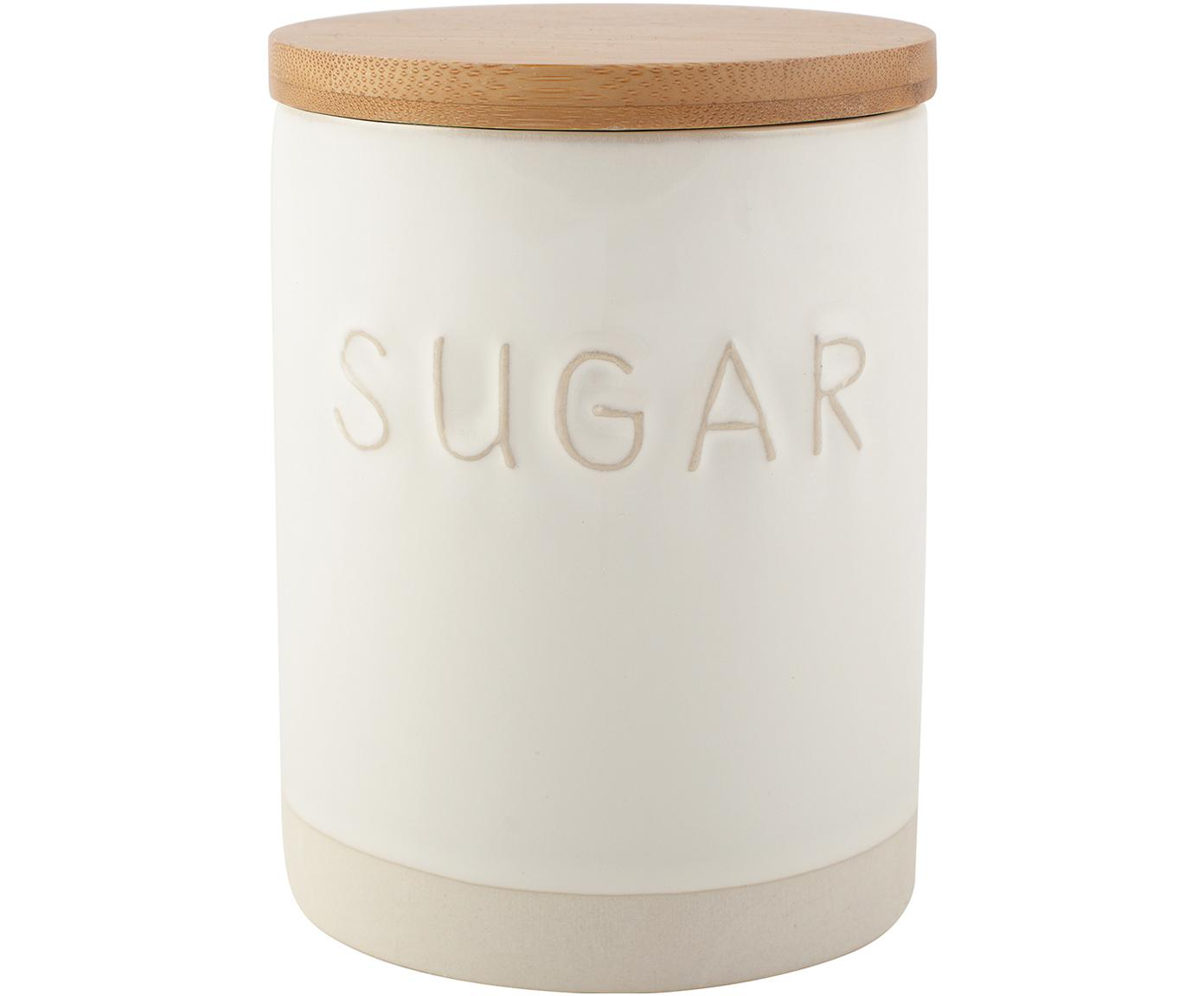 Opbergpot Sugar, Pot: keramiek, Deksel: hout, Wit, beige, Ø 10 x H 14 cm