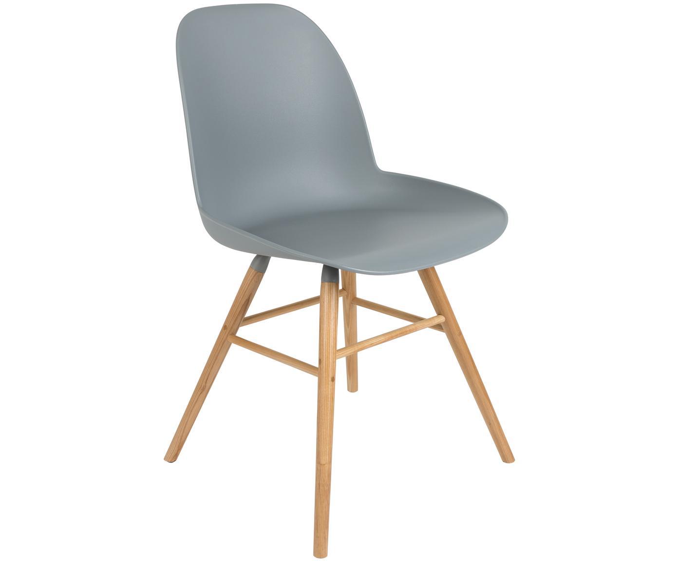 Silla Albert Kuip, Asiento: 100% polipropileno, Patas: madera de fresno, Gris azulado, An 49 x Al 82 cm