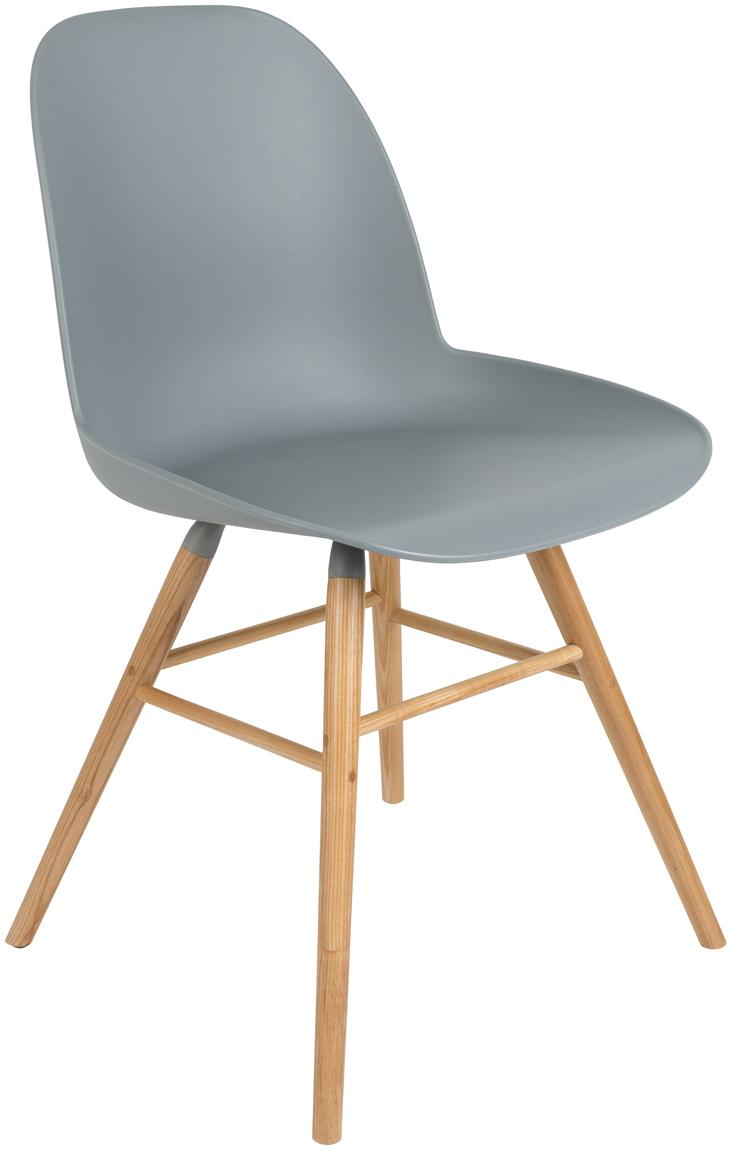 Kunststoffstuhl Albert Kuip mit Holzbeinen, Sitzfläche: 100% Polypropylen, Grau-Blau, B 49 x T 55 cm