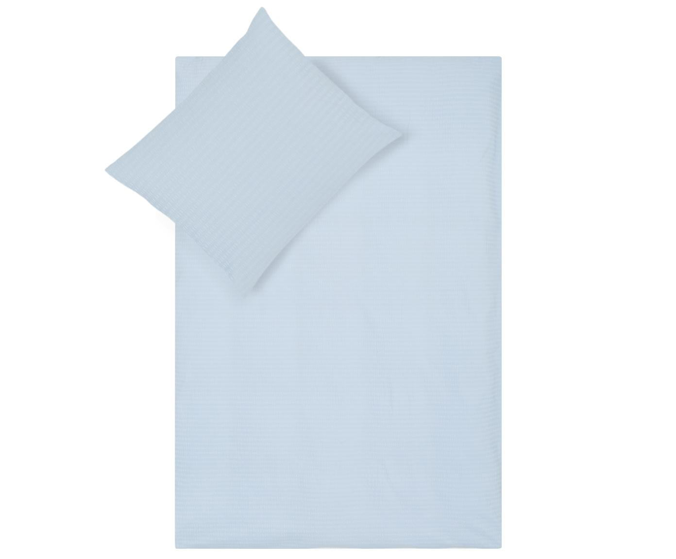 Seersucker dekbedovertrek Illusion, Katoen, Lichtblauw, 140 x 220 cm