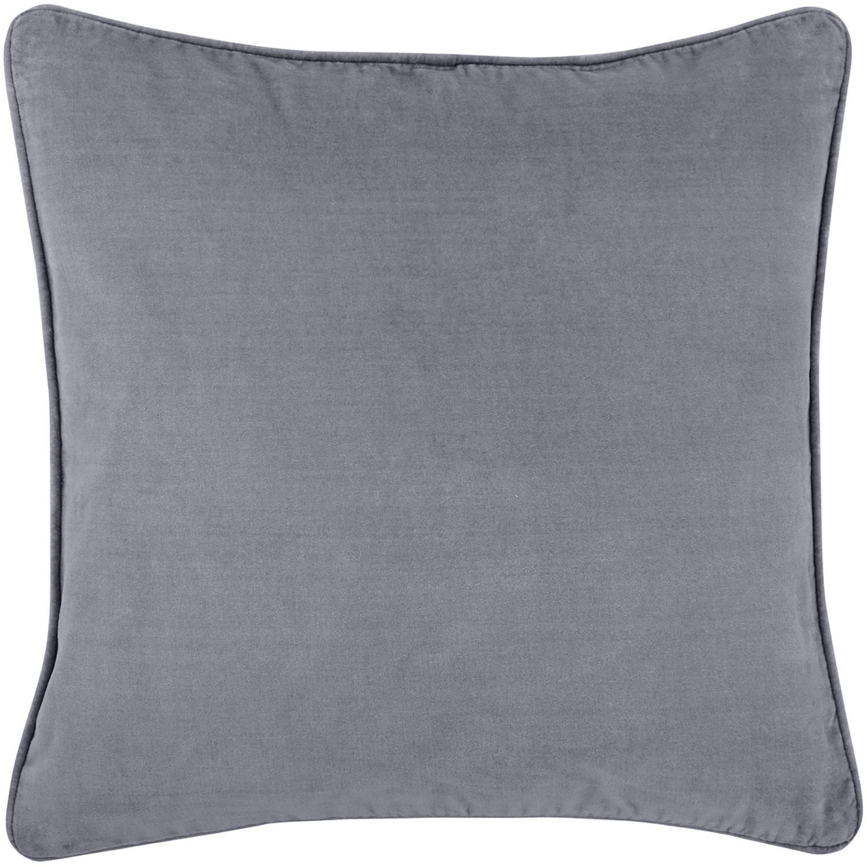 Funda de cojín de terciopelo Dana, 100%terciopelo de algodón, Gris oscuro, An 50 x L 50 cm