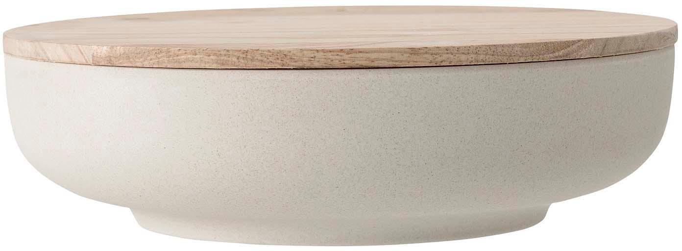 Aufbewahrungsdose Java, Schüssel: 50% Bambusfasern, 20% Mel, Deckel: Gummibaumholz, Weiss, Beige, Ø 26 x H 8 cm