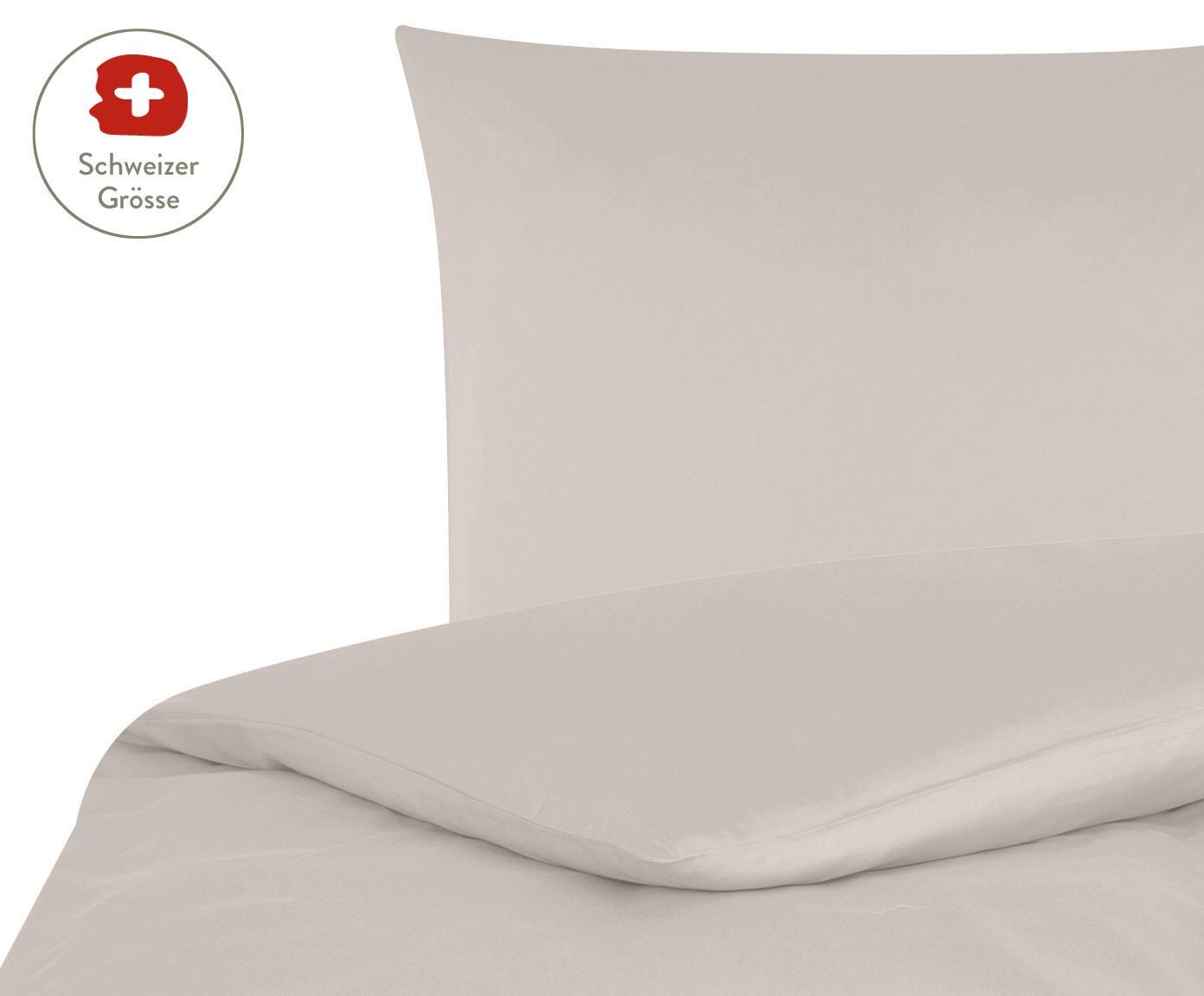 Baumwollsatin-Bettdeckenbezug Comfort in Taupe, Webart: Satin, leicht glänzend, Taupe, 160 x 210 cm