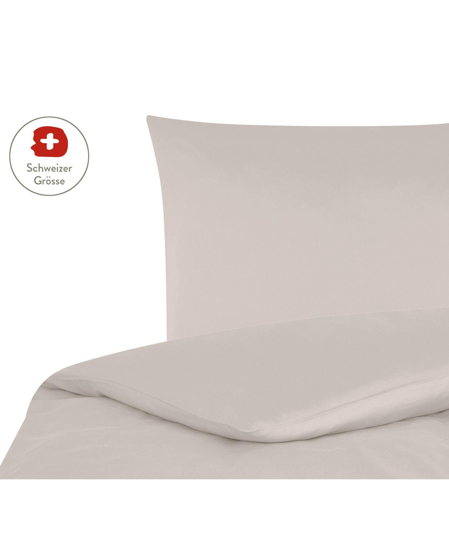 Baumwollsatin-Bettdeckenbezug Comfort in Taupe, Webart: Satin, leicht glänzend Fa, Taupe, 160 x 210 cm