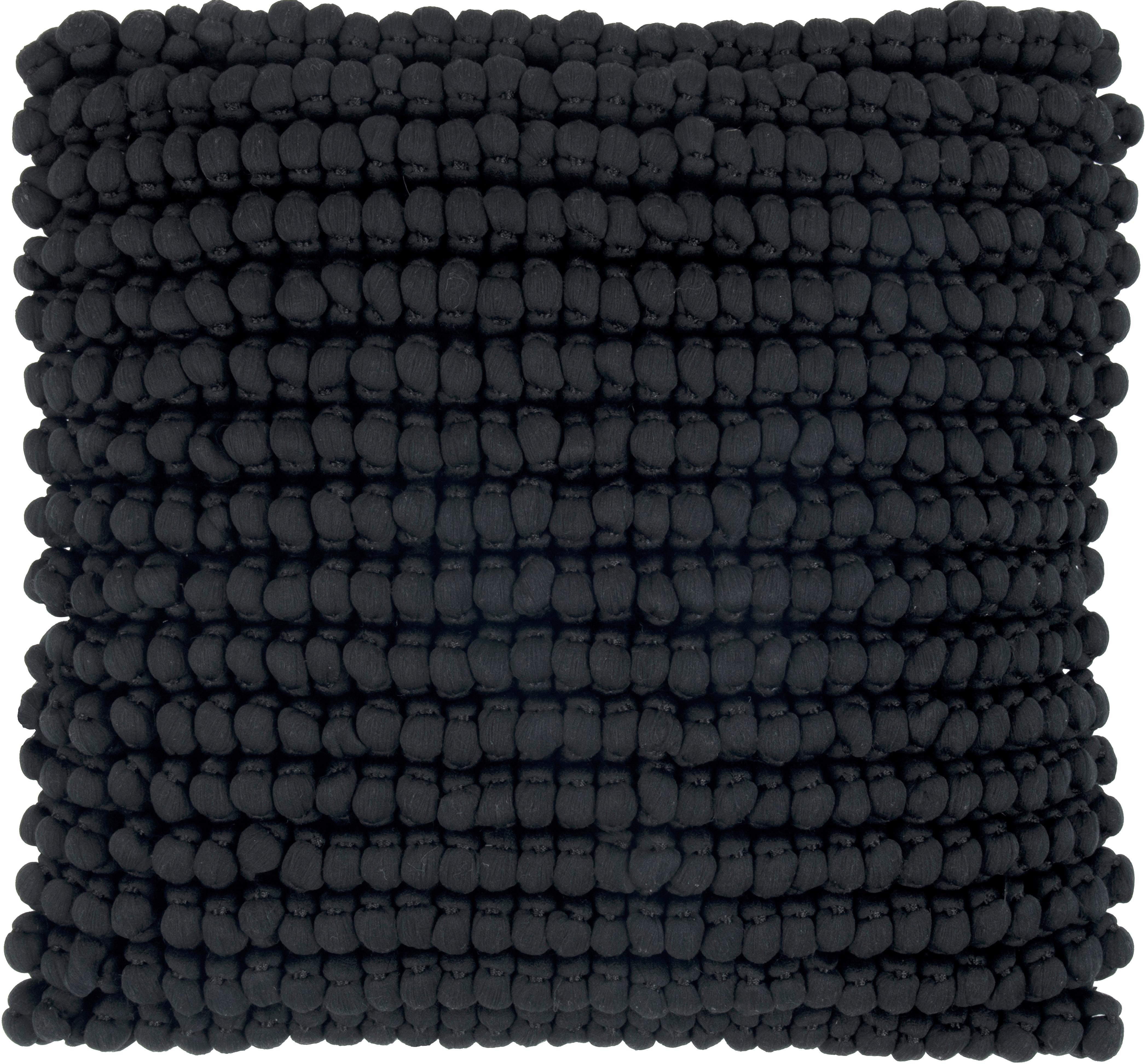 Kissenhülle Iona mit kleinen Stoffkugeln in Schwarz, Vorderseite: 70% Polyester, 30% Baumwo, Rückseite: Baumwolle, Schwarz, 45 x 45 cm