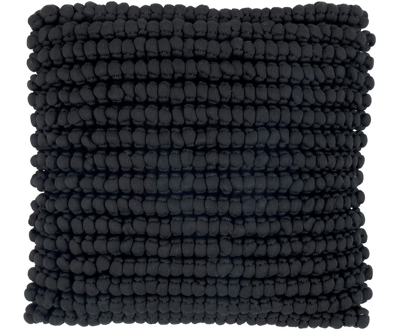 Funda de cojín en tejido de bolitas Iona, Parte delantera: 70%poliéster, 30%algodó, Parte trasera: algodón, Negro, An 45 x L 45 cm