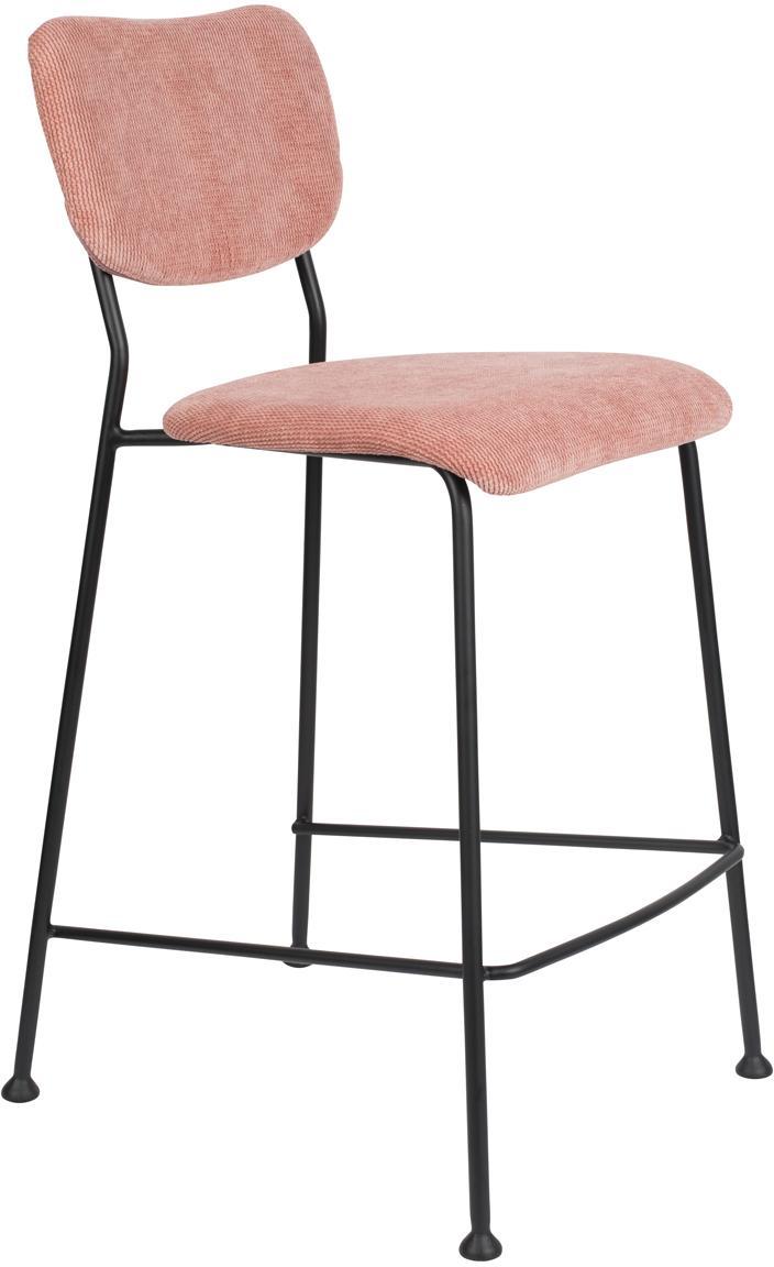 Krzesło kontuarowe ze sztruksu Beson, Stelaż: metal malowany proszkowo, Blady różowy, S 46 x W 92 cm