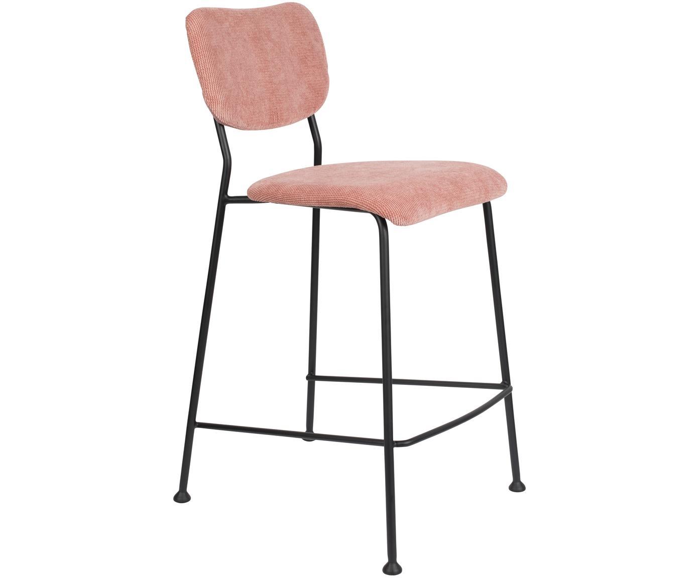 Sedia da banco in velluto a coste Beson, Sottostruttura: compensato, Struttura: metallo verniciato a polv, Rosa, Larg. 46 x Alt. 92 cm