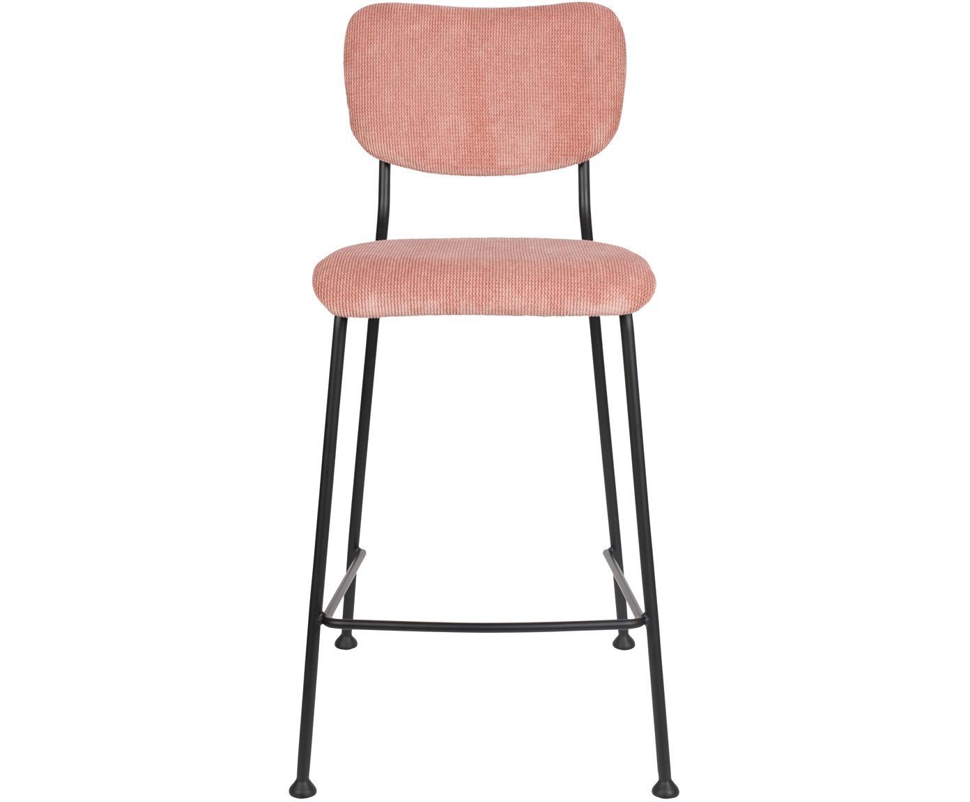 Corduroy barstoel Beson, Frame: gepoedercoat metaal, Roze, 46 x 92 cm