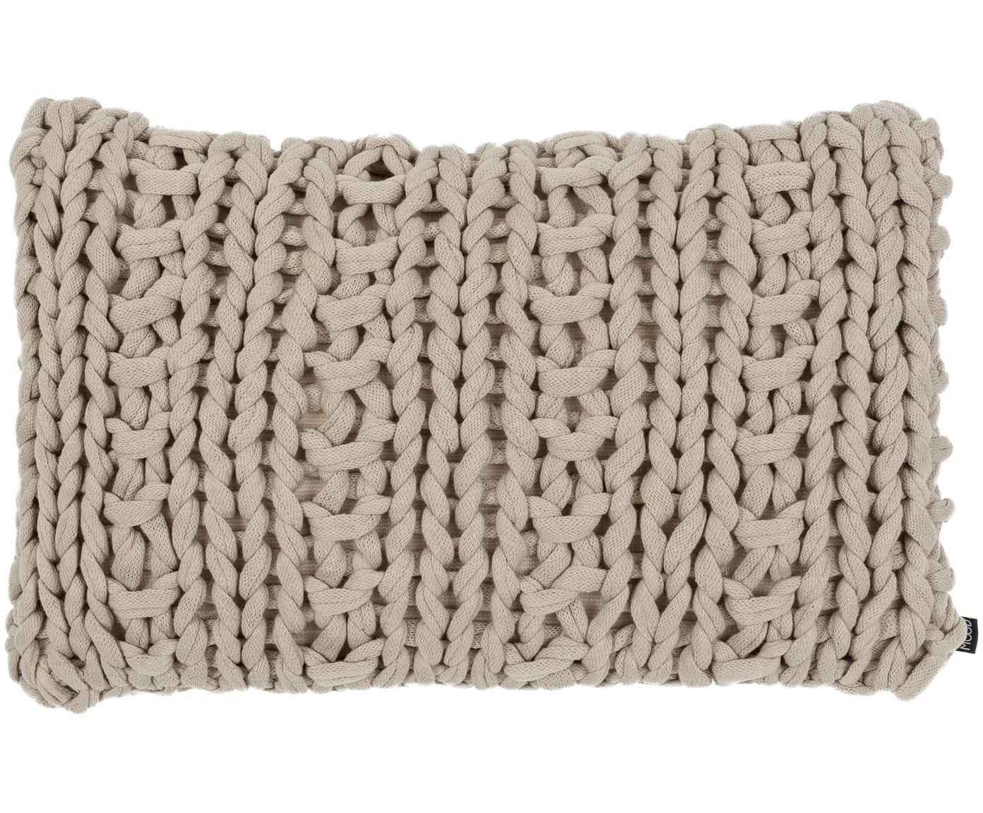 Cuscino fatto a maglia con imbottitura Chunky, Beige, Larg. 40 x Lung. 60 cm