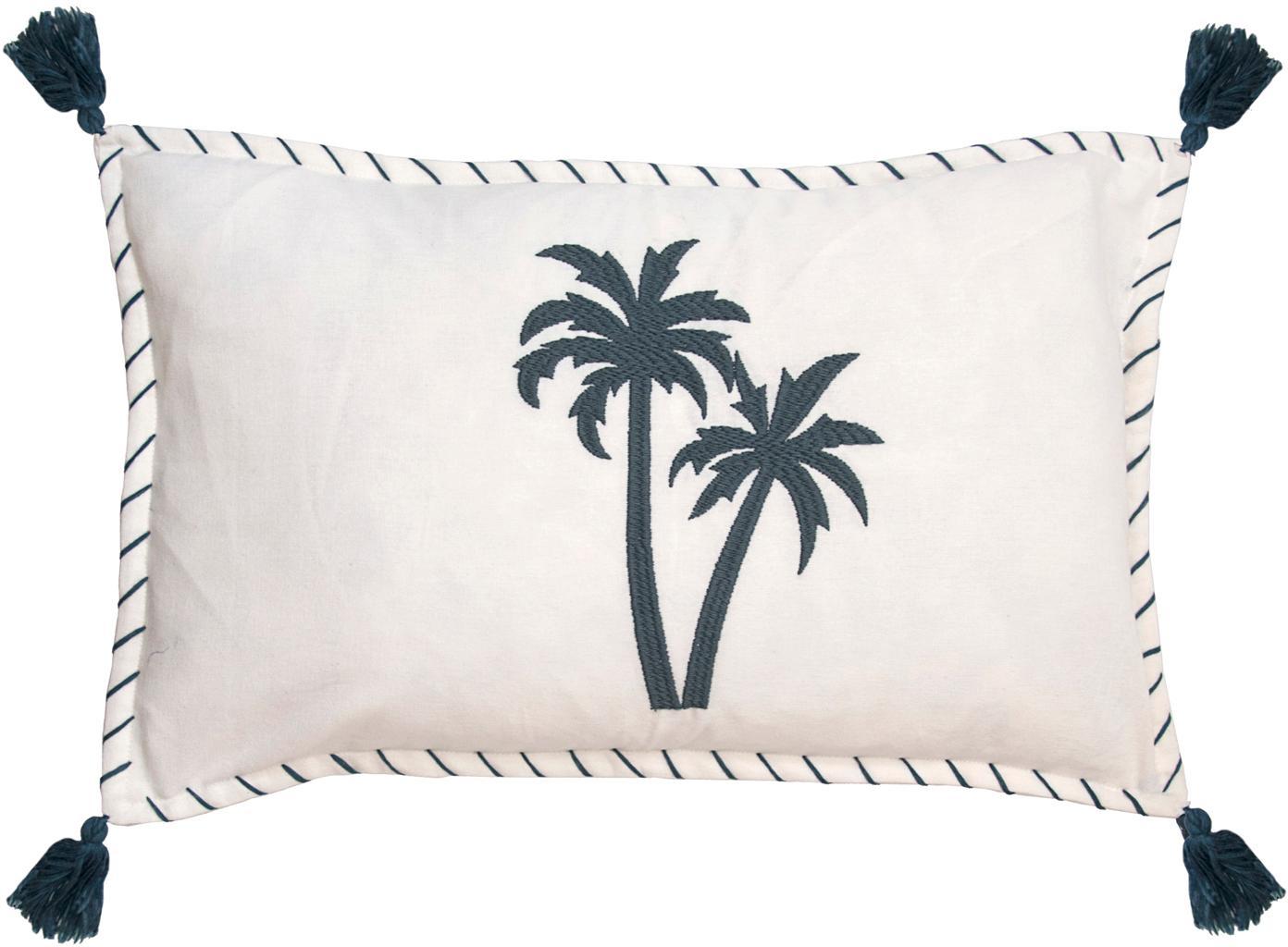 Kussenhoes Bali met palmen borduurwerk en kwastjes, 100% katoen, Wit, marineblauw, 30 x 50 cm