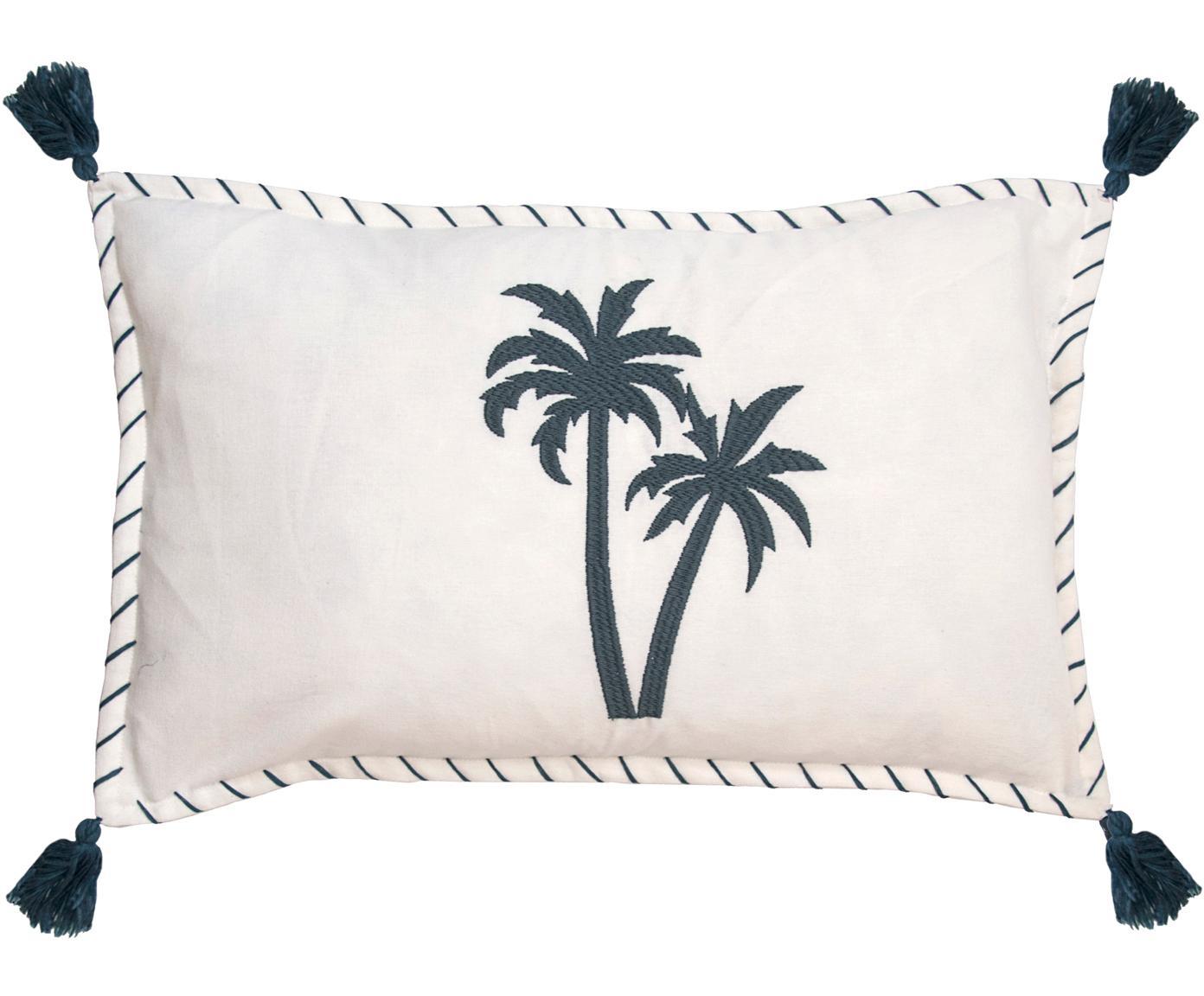 Kussenhoes Bali met palmen borduurwerk en kwastjes, Katoen, Wit, marineblauw, 30 x 50 cm