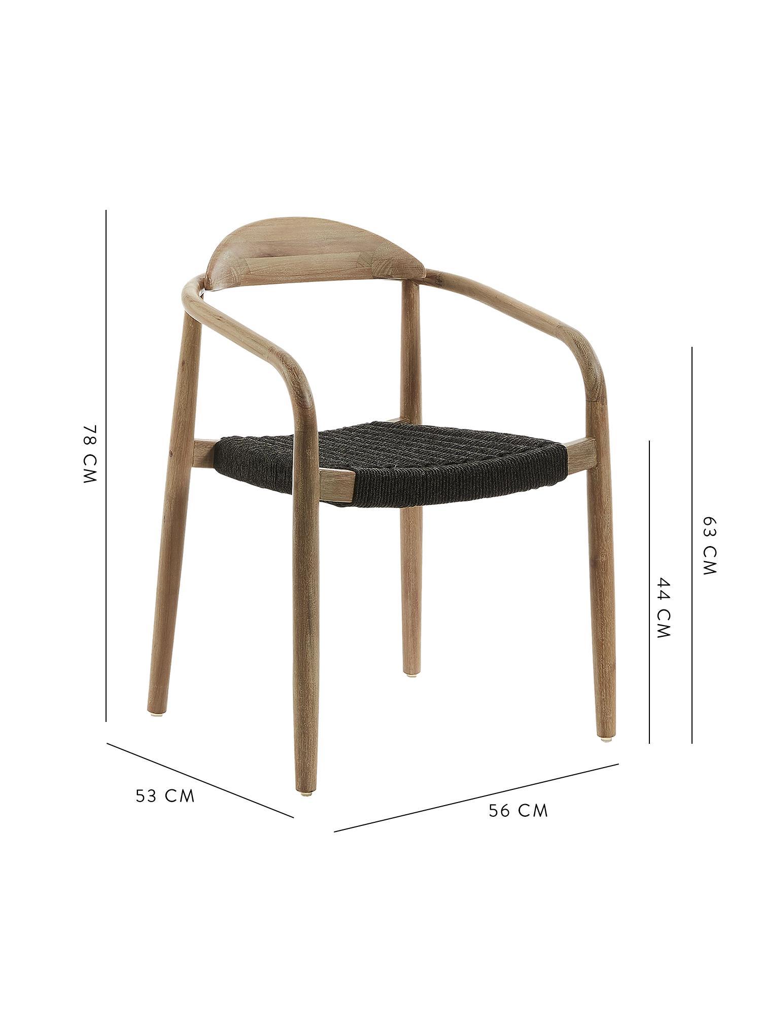 Sedia con braccioli in legno massiccio Nina, Struttura: legno di eucalipto massic, Seduta: poliestere, resistente ai, Marrone, grigio scuro, Larg. 56 x Prof. 53 cm