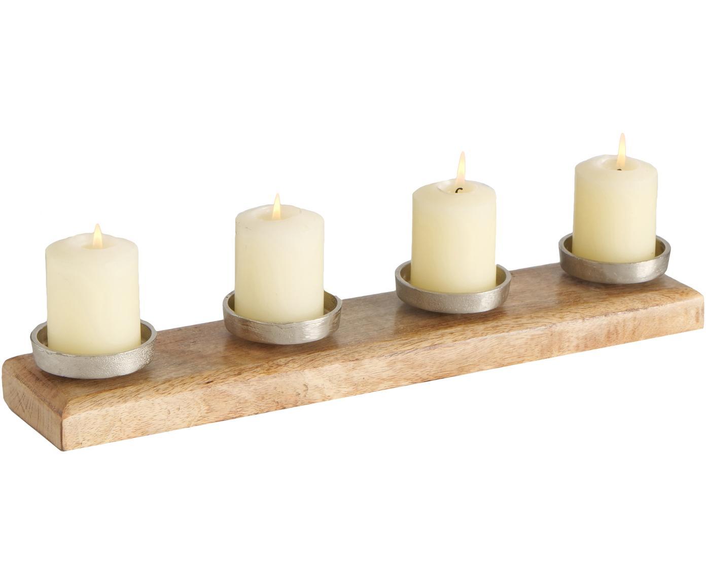 Świecznik Stiegler, Drewno mangowe, aluminium, niklowany, Drewno mangowe, nikiel, S 50 x W 6 cm
