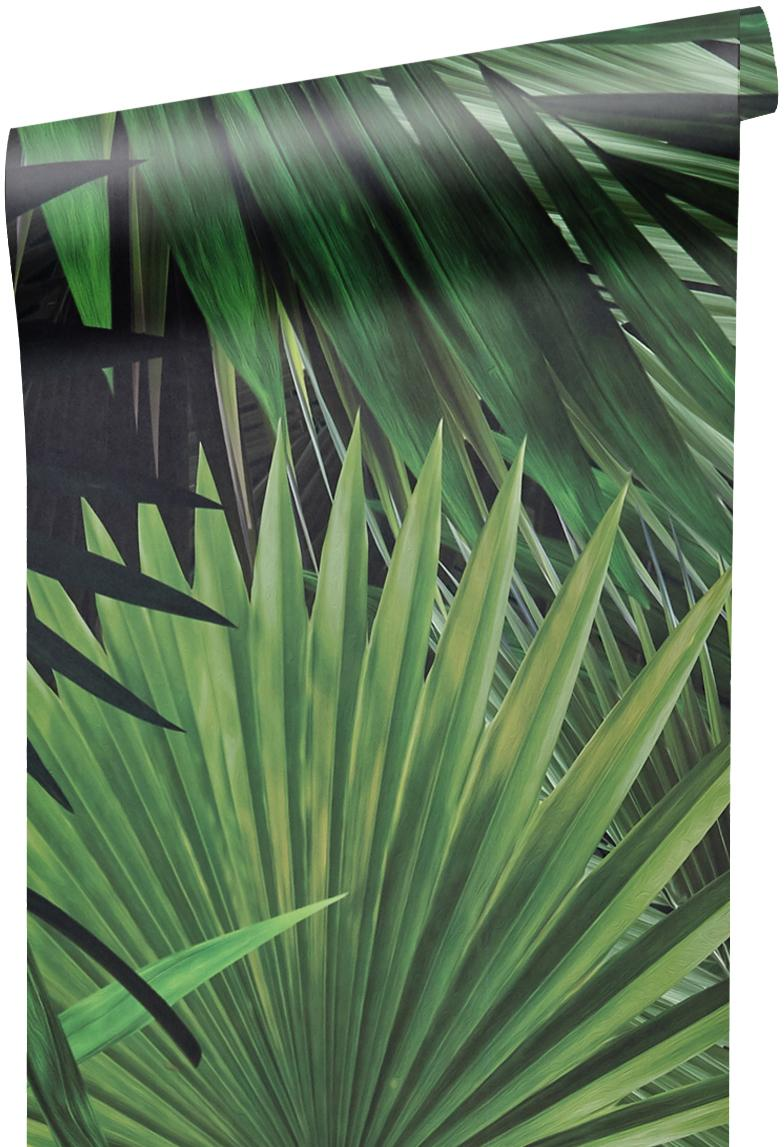 Papel pintado Palm Leaves, Tejido no tejido, ecológica y biodegradable, Verde, An 98 x L 280 cm
