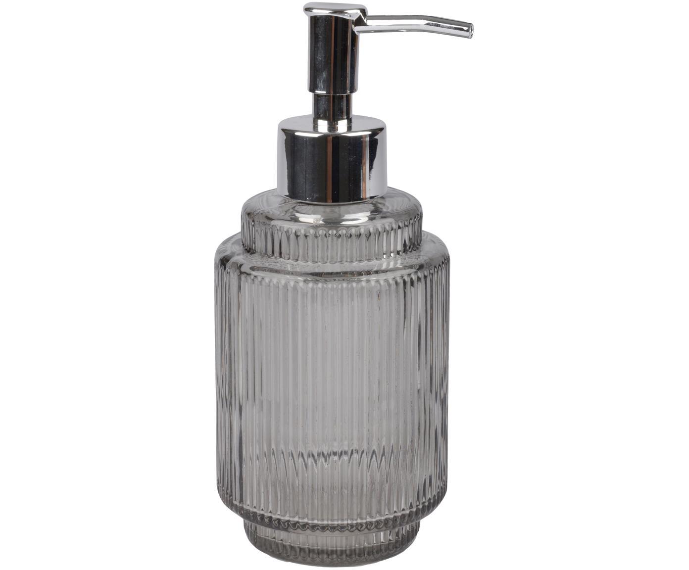 Zeepdispenser Ligia van geribbeld glas, Glas, Grijs, transparant, zilverkleurig, Ø 8 cm