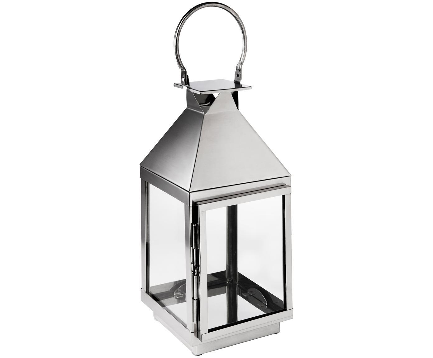 Lantaarn Grace, Hoogglans gepolijst edelstaal, glas, Edelstaalkleurig, H 38 cm
